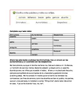 Vocabulario de la escuela y los diminutivos/autmentativos etc.