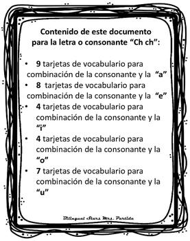 Vocabulario de la letra Ch ch consonante Chch Bilingual Stars Mrs. Partida