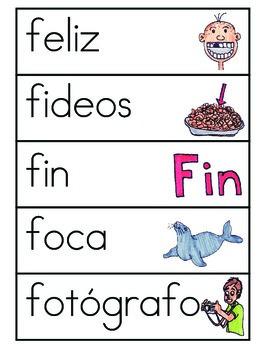 Vocabulario de la letra F