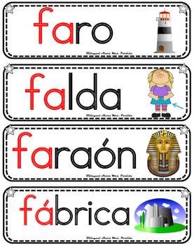 Vocabulario de la letra F f consonante Ff Bilingual Stars Mrs. Partida