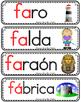 Vocabulario de la letra F f consonante Ff Bilingual Stars