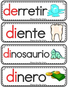 Vocabulario de la letra D d consonante Dd Bilingual Stars Mrs. Partida