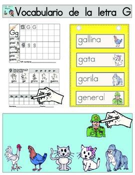 Vocabulario de la letra G