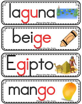 Vocabulario de la letra Gg consonante G g Bilingual Stars Mrs. Partida