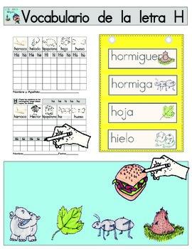 Vocabulario de la letra H
