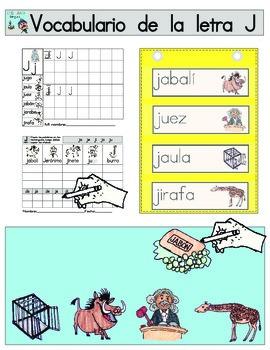 Vocabulario de la letra J