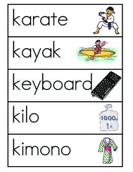 Vocabulario de la letra K