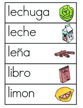 Vocabulario de la letra L
