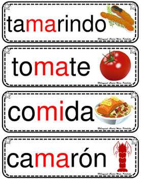 Vocabulario de la letra M m consonante Mm Bilingual Stars Mrs. Partida
