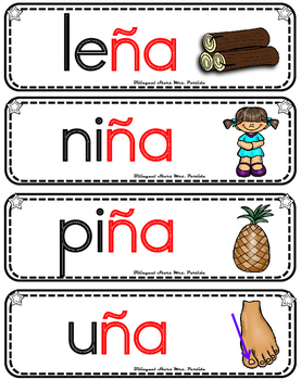 Vocabulario de la letra  Ñ ñ  consonante Ññ  Bilingual Stars Mrs. Partida