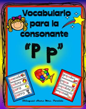 Vocabulario de la letra P p consonante Pp Bilingual Stars Mrs. Partida