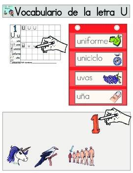 Vocabulario de la letra U