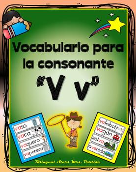 Vocabulario de la letra V v consonante Vv Bilingual Stars Mrs. Partida