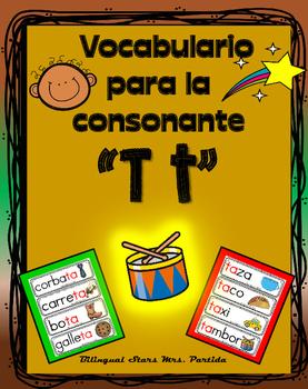 Vocabulario de la letra T t consonante Tt Bilingual Stars Mrs. Partida