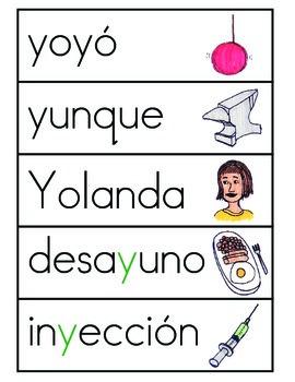 Vocabulario de la letra Y
