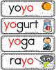 Vocabulario de la letra Yy consonante Y y Bilingual Stars Mrs. Partida