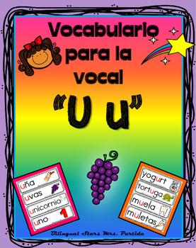 Vocabulario de la vocal U u  letra  Uu Bilingual Stars Mrs. Partida
