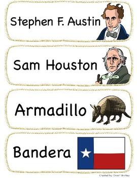 Texas - Symbols Vocabulary in Spanish - Vocabulario de los Símbolos de Texas