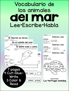 Vocabulario de los animales del mar {Spanish marine animal vocab pages}