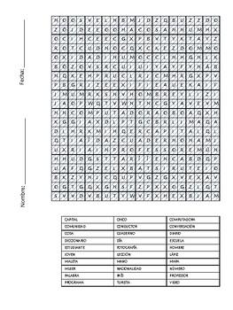 Vocabulario español - Crucigramas