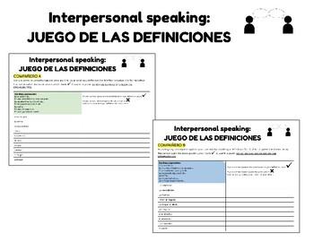 Vocabulario la Inmigración. En Contacto. Interpersonal Speaking.