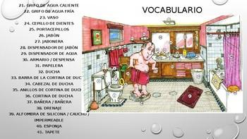 Vocabulario para enseñar las partes del baño en español