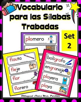 Vocabulario para las Sílabas Trabadas Set 2 Bilingual Stars Mrs. Partida