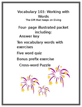 Vocabulary 103 Working with Words