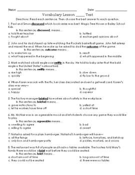 Vocabulary 2 Test