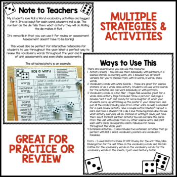 Roll a Word: Dice Vocabulary Activities for Any Words (EDITABLE)