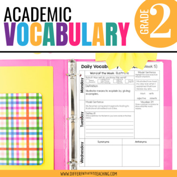 Academic Vocabulary for 2nd Grade Morning Work or Word Work