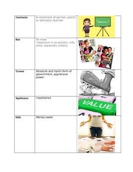 Vocabulary 3 Way Match-First Semester Words