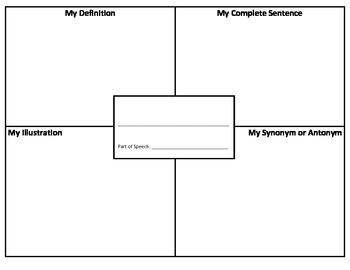 Vocabulary: 4 Square Organizer