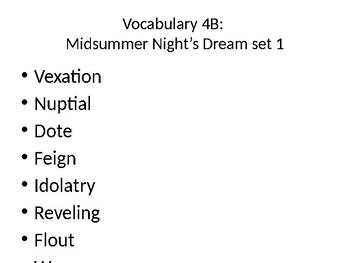 Vocabulary 4B Midsummer Night's Dream Act 1-2