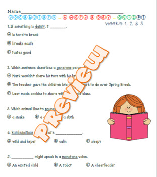 Vocabulary- A Word a Day - Quiz over Weeks 1-3