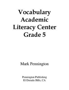 Vocabulary Academic Literacy Center Grade 5