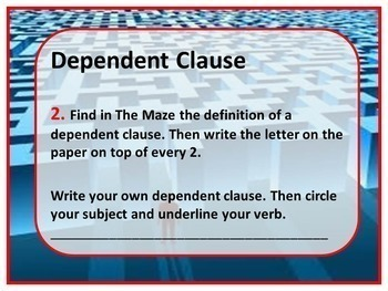 Independent vs. Dependent Clause Kinesthetic Maze