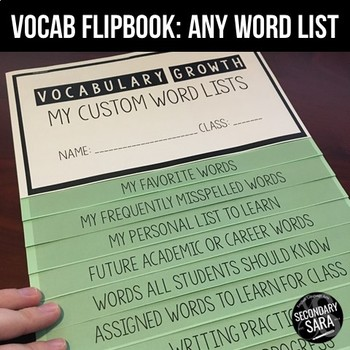 Vocabulary Acquisition & Growth Flipbook: Use with ANY Word List!