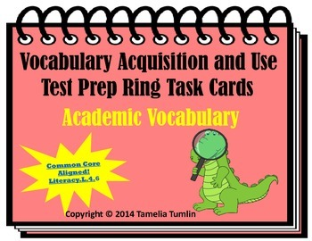 Vocabulary Acquisition Literacy Center Test Prep Rings (Academic Vocabulary)