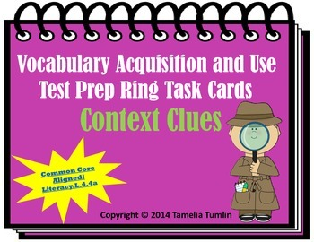 Vocabulary Acquisition Literacy Center Test Prep Rings (Context Clues)