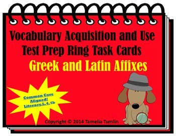 Vocabulary Acquisition Literacy Center Test Prep Rings  (Greek Affixes)