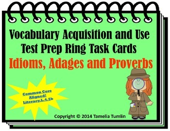 Vocabulary Acquisition Literacy Center Test Prep Rings (Idioms and Proverbs)