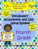 YEAR LONG Common Core Vocabulary Acquisition and Use Spiral Review Fourth Grade