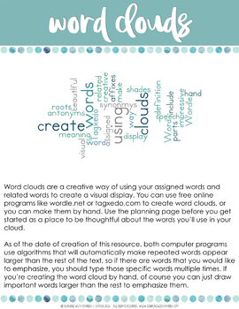 Vocabulary Word Study Activities for Any Word List - Grades 4 - 8