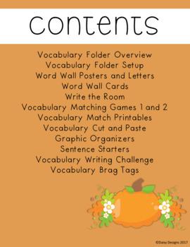 Vocabulary Activities - AUTUMN / FALL