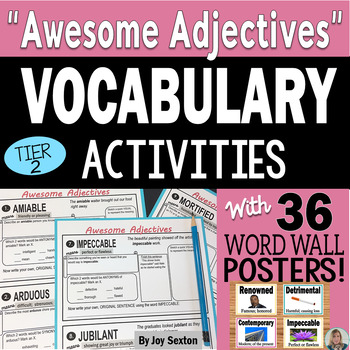 Vocabulary Activities - Awesome Adjectives with Word Wall Posters & Quizzes 6-9