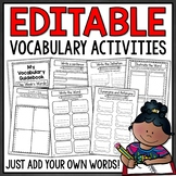 Vocabulary Activities for Any Words - EDITABLE Word Work