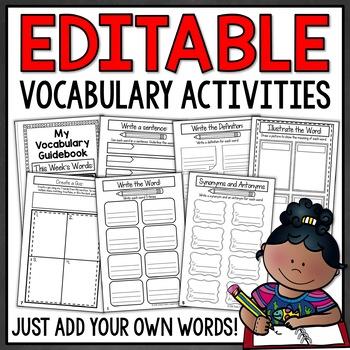 Vocabulary Activities - EDITABLE