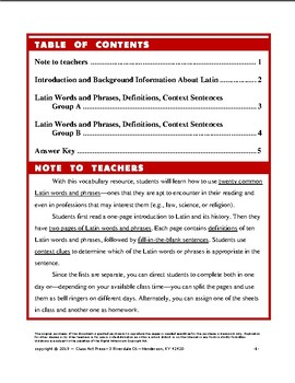 Vocabulary Activities: Do You Know Latin? (5 Pgs., Answer Key Included)