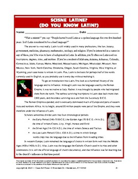 Vocabulary Activities: Do You Know Latin?